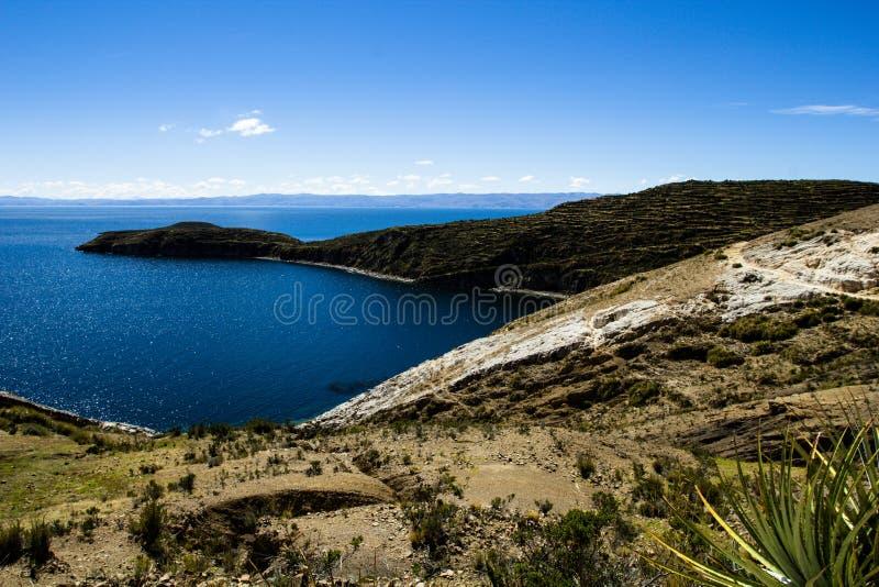 Isla del Sol op het Titicaca-meer, Bolivië. royalty-vrije stock afbeeldingen