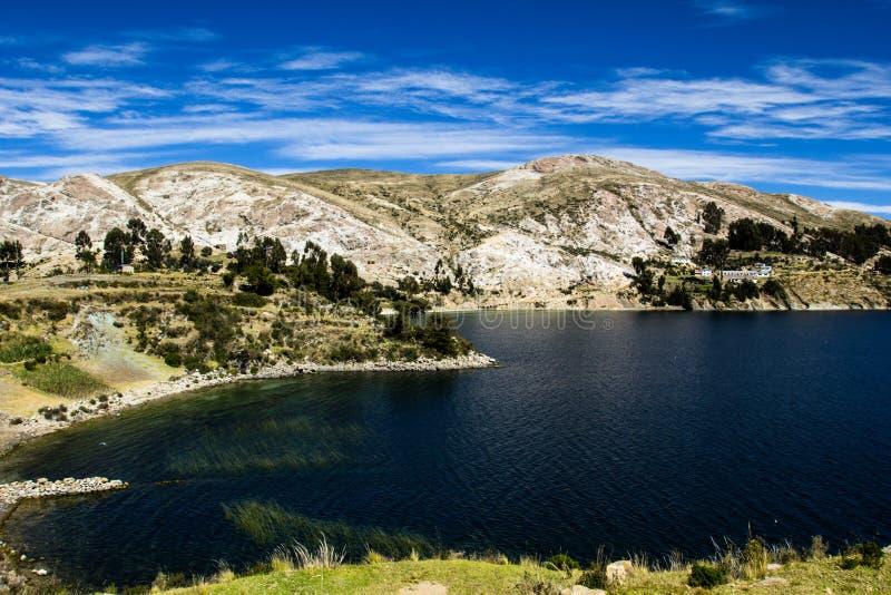 Isla del Sol op het Titicaca-meer, Bolivië. royalty-vrije stock fotografie