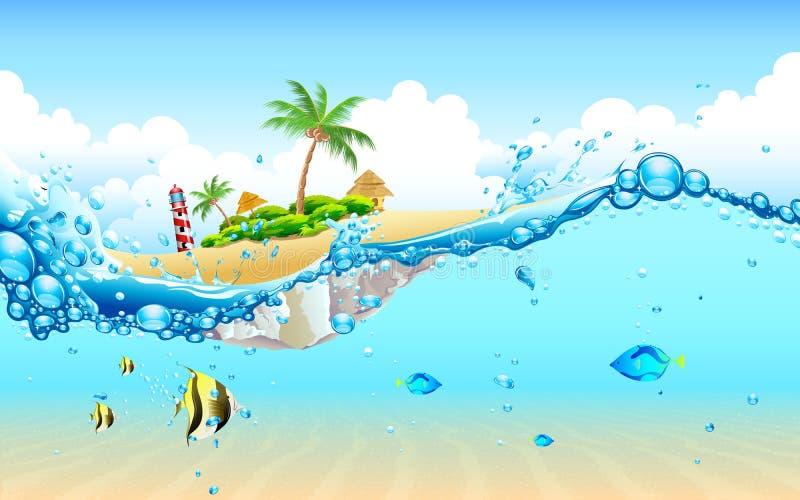 Isla del submarino stock de ilustración