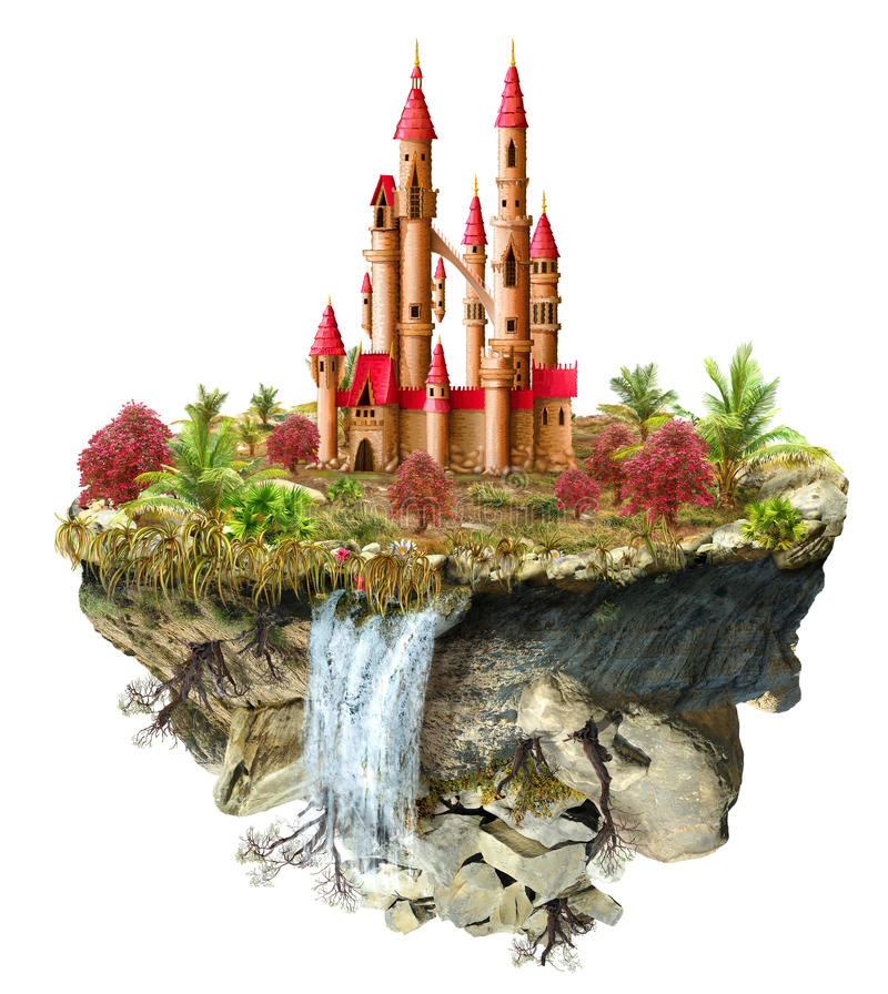 Isla del vuelo con el castillo fabuloso stock de ilustración