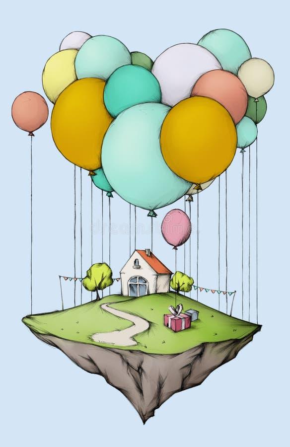 Isla del vuelo con el hogar y el jardín, adornados para un cumpleaños libre illustration