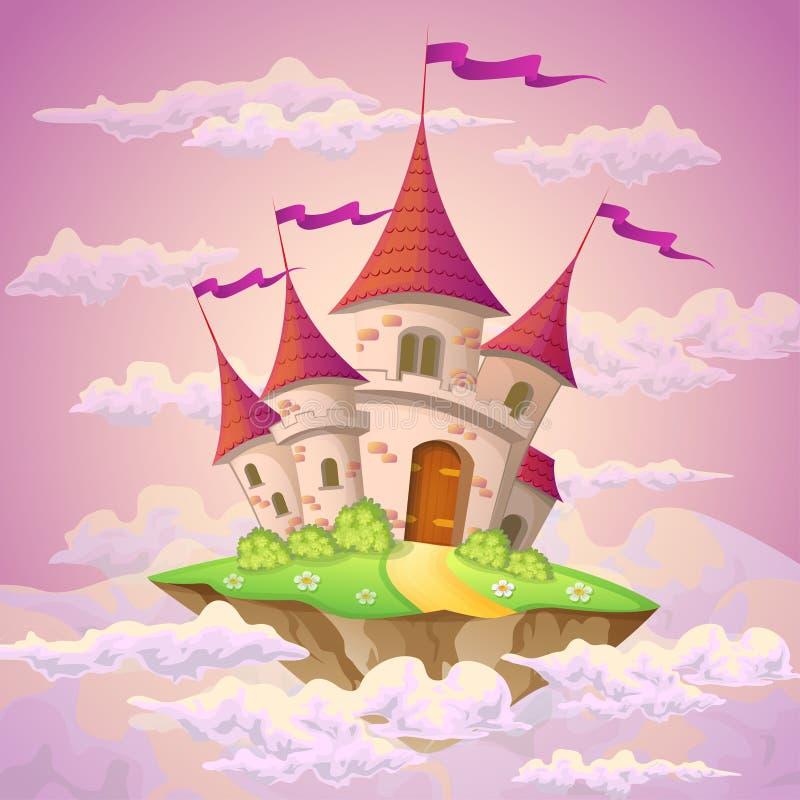Isla del vuelo de la fantasía con el castillo del cuento de hadas en nubes libre illustration
