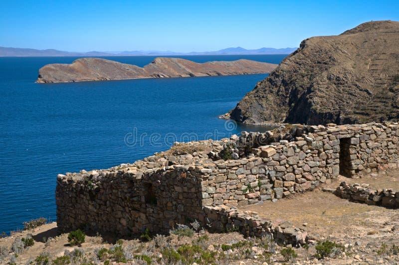 Isla Del Zol, w Boliwia Jeziorny Titicaca fotografia royalty free