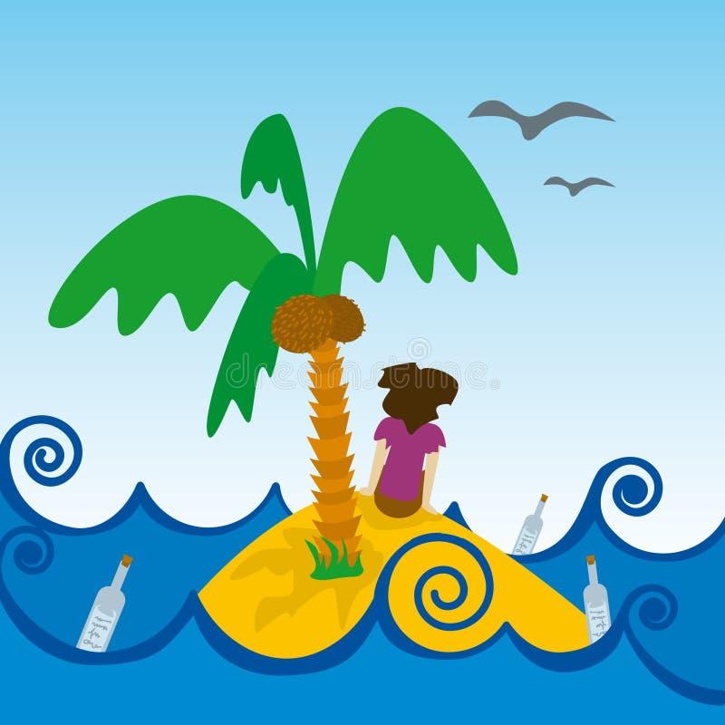 Isla desierta (vector) stock illustration