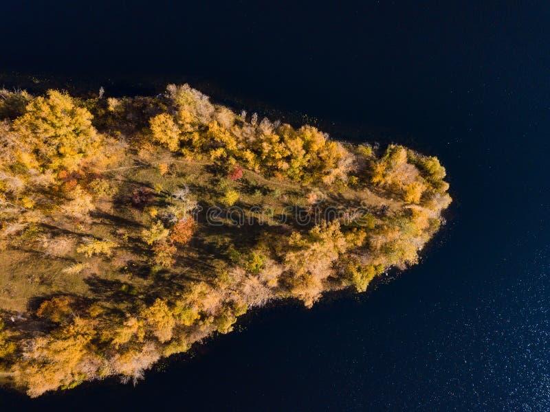 Isla en el río en otoño imágenes de archivo libres de regalías