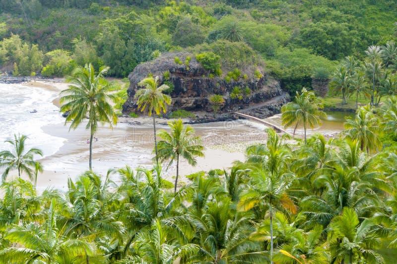 Isla Estados Unidos del kawaii de Hawaii de la opinión aérea de la playa imagenes de archivo