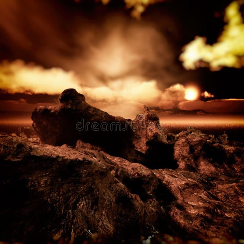 Isla extraña con el ambiente épico de la puesta del sol stock de ilustración