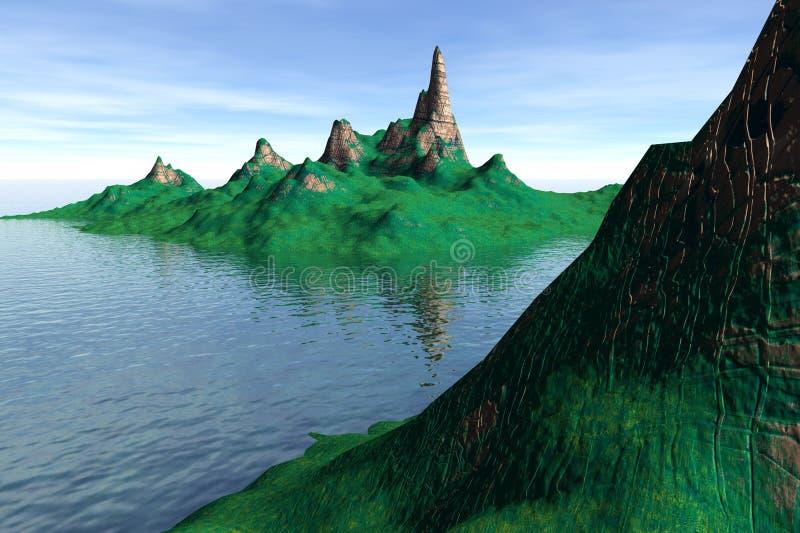 Isla fantástica en el océano stock de ilustración