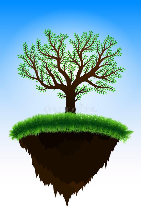 Isla flotante con el árbol ilustración del vector