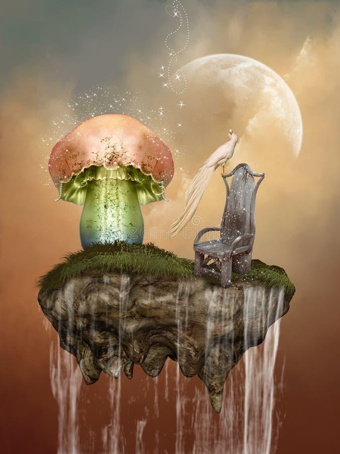 Isla flotante de la fantasía stock de ilustración