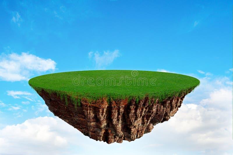 Isla flotante de la fantasía en un cielo azul imagen de archivo libre de regalías
