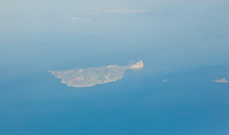 Isla griega Anafi, visión aérea imagen de archivo
