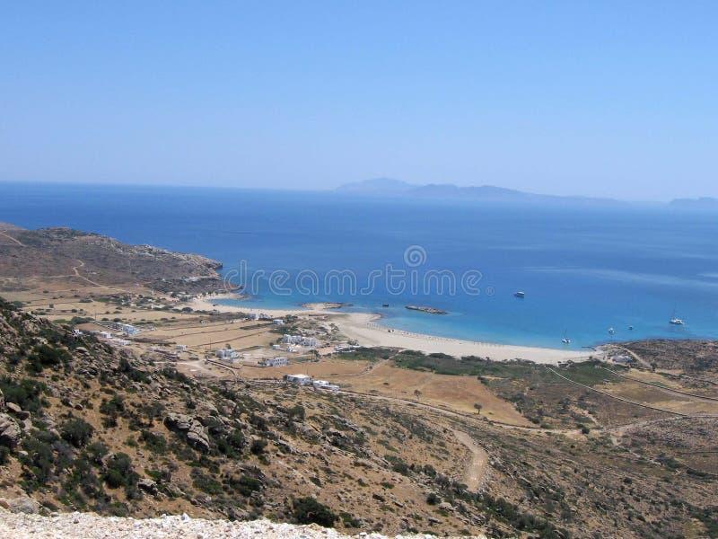 Isla griega, dos playas foto de archivo libre de regalías