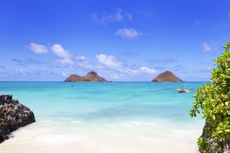 Isla Hawaii de Mokulua imagenes de archivo