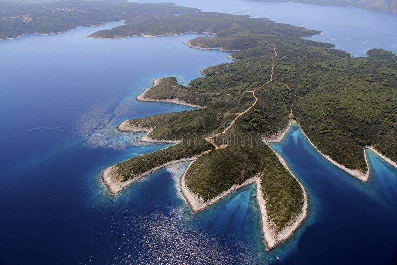 Isla Hvar del aire foto de archivo