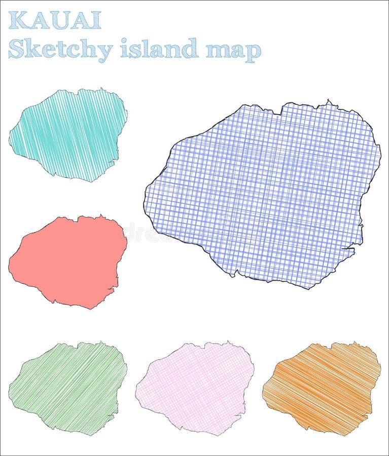 Isla incompleta de Kauai stock de ilustración