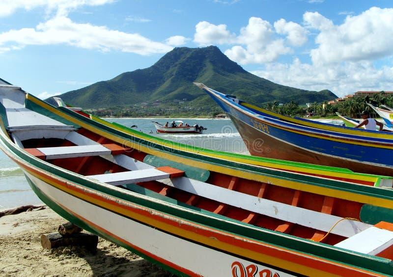 Isla Margarita fishing boats stock images