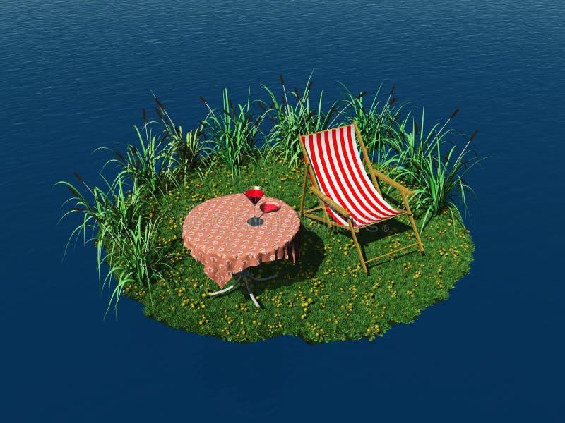 Isla minúscula con la silla y el vector de cubierta libre illustration