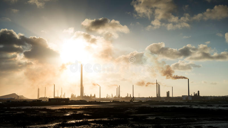 Isla Oil Refinery Curacao - Pollution stock photography