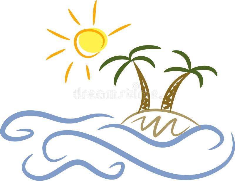 Isla, palmeras y sol ilustración del vector