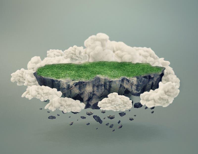 Isla rocosa cubierta por la hierba que flota en aire stock de ilustración