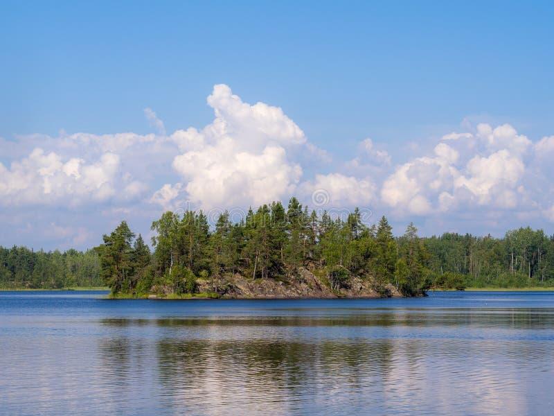 Isla rocosa en un lago del bosque fotografía de archivo libre de regalías