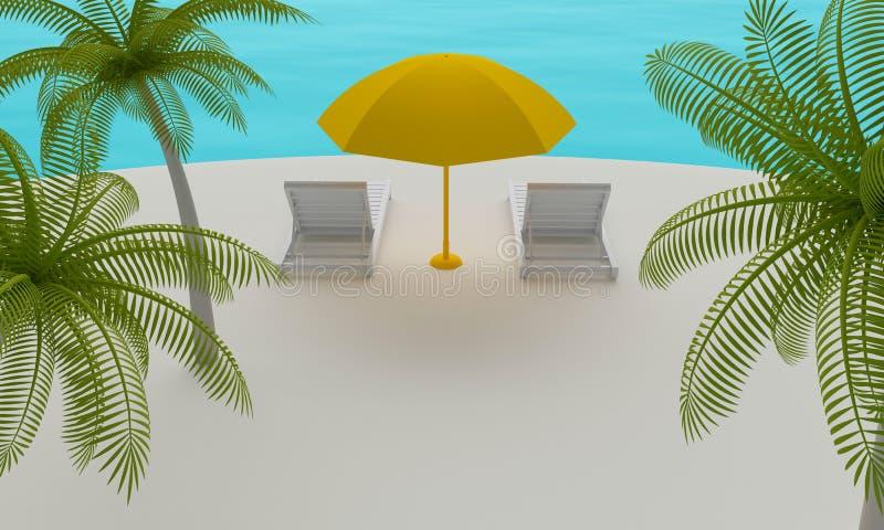 Isla tropical con la silla y el paraguas de playa representaci?n 3d ilustración del vector