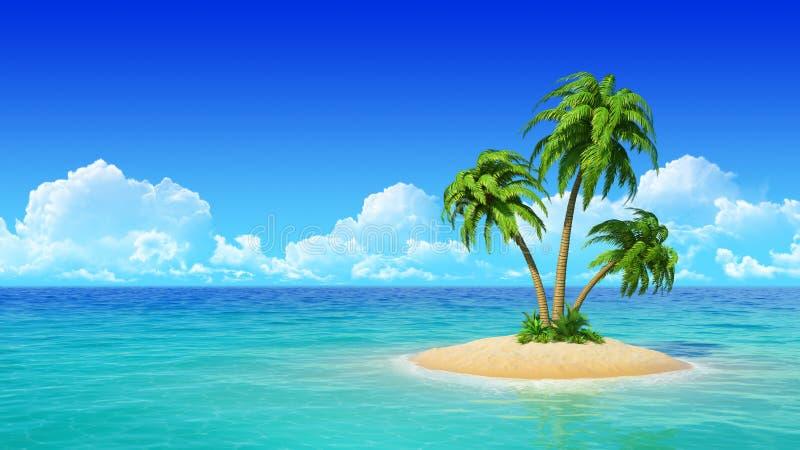 Isla tropical con las palmas. libre illustration