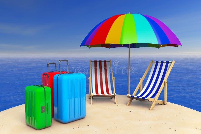 Isla tropical con las sillas de playa, paraguas y maletas 3d ilustración del vector