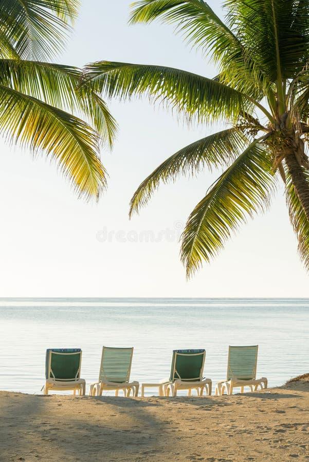 Isla tropical Deckchairs foto de archivo
