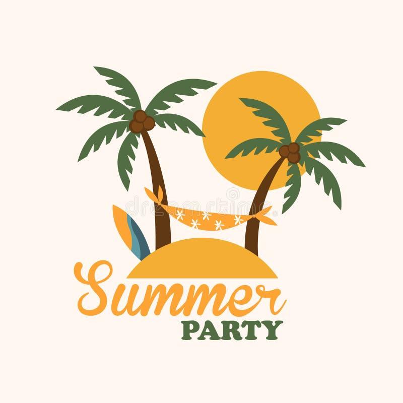 Isla tropical del día de fiesta con las palmeras, planas ilustración del vector