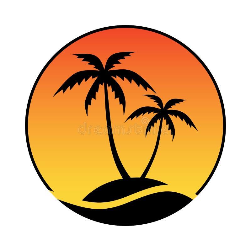 Isla tropical del logotipo S?mbolo del centro tur?stico stock de ilustración