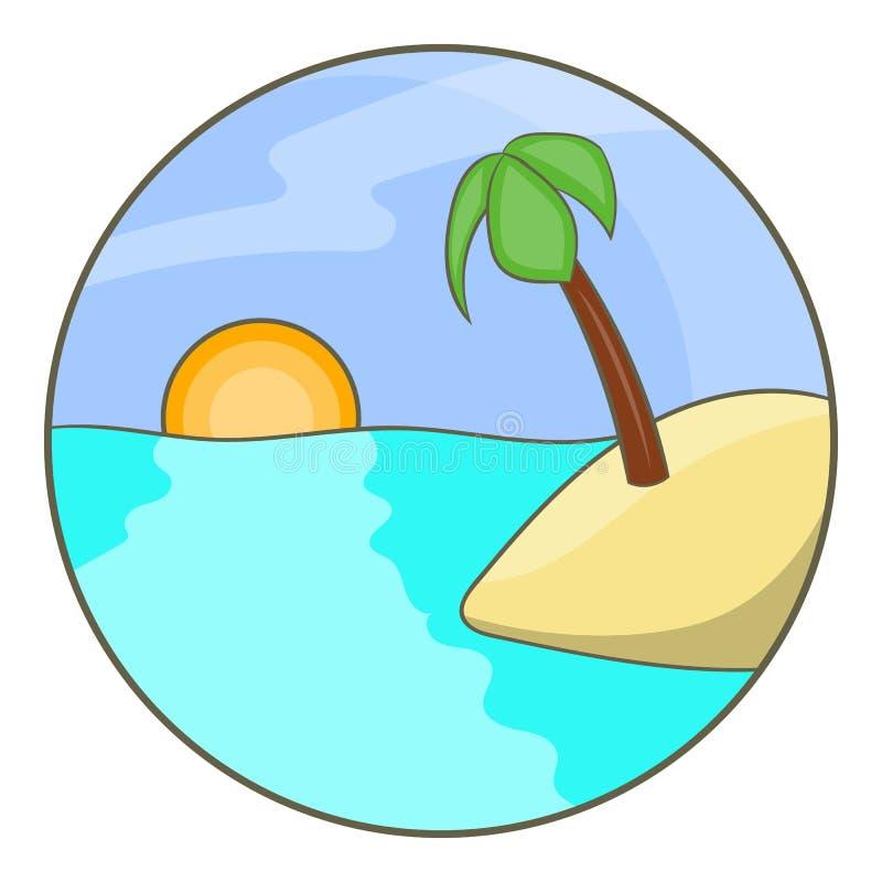 Isla tropical del océano con el icono de la palmera stock de ilustración