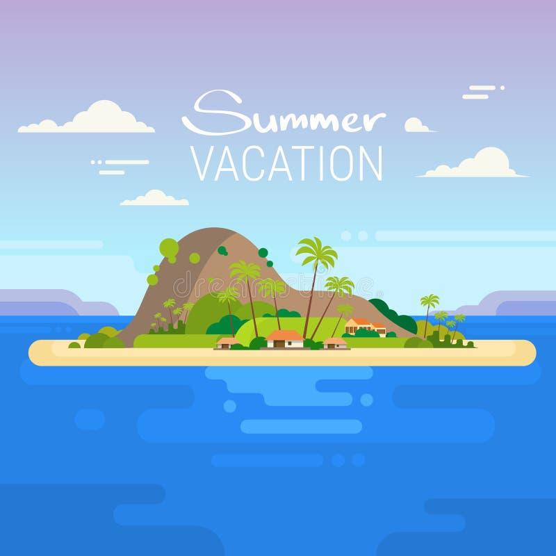 Isla tropical del océano de las vacaciones de verano libre illustration