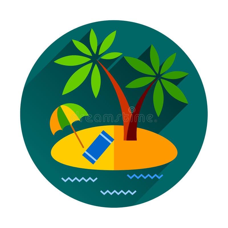 Isla tropical del océano del día de fiesta de las vacaciones de verano con ilustración del vector