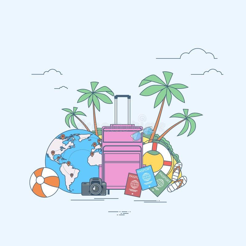 Isla tropical del viaje de la ubicación del verano del equipaje ilustración del vector
