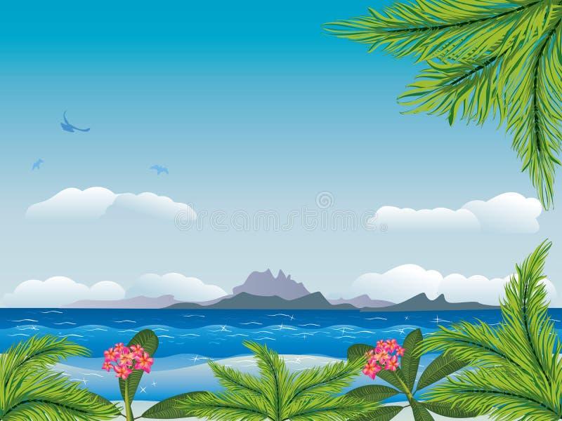 Isla tropical en el océano libre illustration