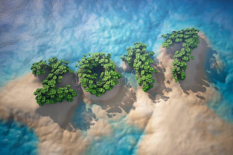 Isla tropical en el océano con los árboles como muestra de 2017 años ilustración del vector