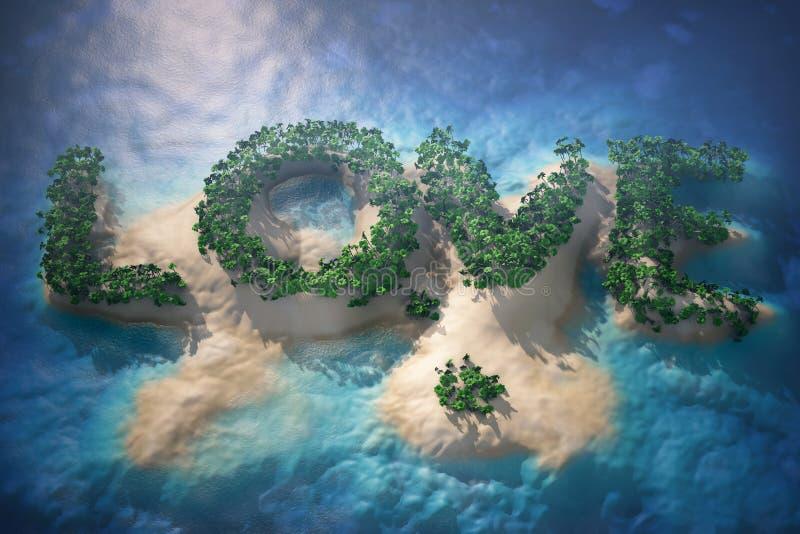Isla tropical en el océano con los árboles como muestra del amor ilustración del vector