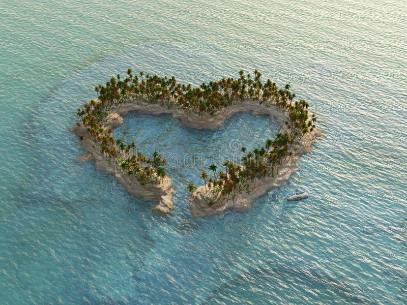 Isla tropical en forma de corazón fotos de archivo