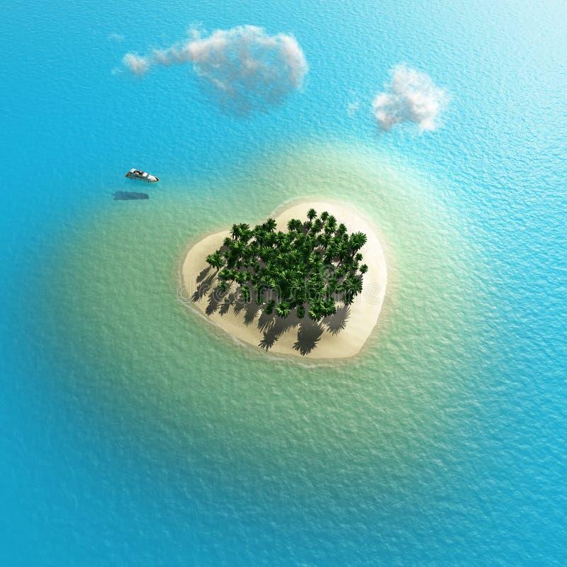 Isla tropical en forma de corazón libre illustration