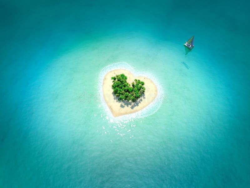 Isla tropical en la forma de corazón ilustración del vector