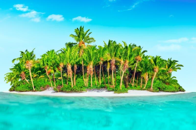 Isla tropical entera dentro del atolón en el océano tropical foto de archivo