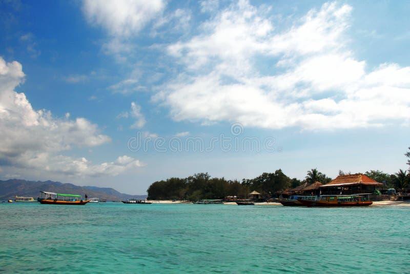 Isla tropical - Gili Meno, Indonesia imágenes de archivo libres de regalías