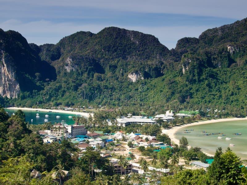Isla tropical. Opinión de ojo de pájaro foto de archivo libre de regalías