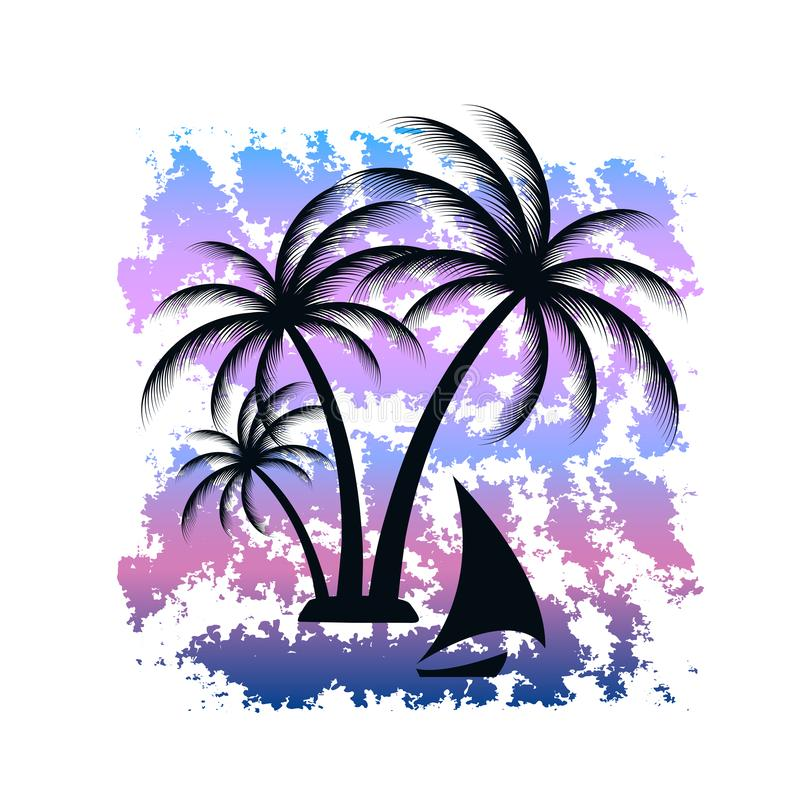 Isla tropical Paisaje tropical Barco de navegación Impresión de la camiseta con textura del grunge stock de ilustración