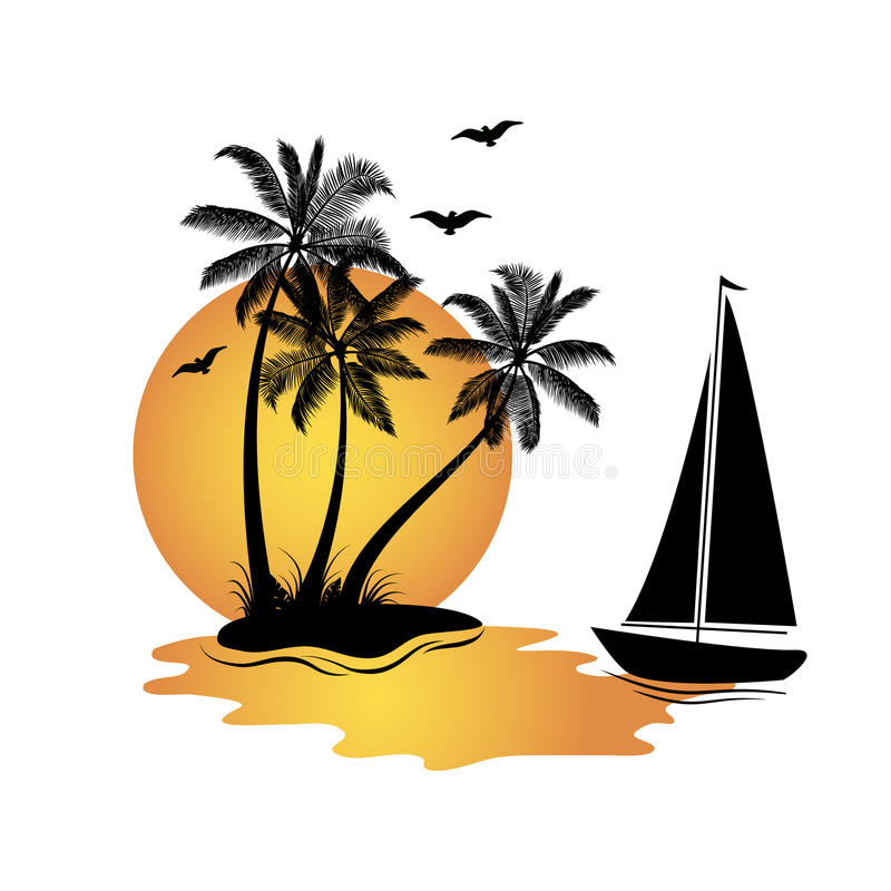 Isla y barco foto de archivo