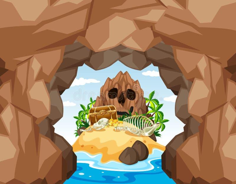 Isla y cueva del tesoro del pirata del misterio stock de ilustración