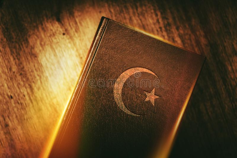 Islam Concept Book. With Star and Crescent. Quran Religious Text of Islam Concept Photo stock images