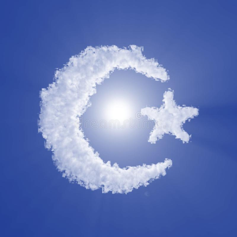 Islam crescent and star cloud sign with volume light on blue sky and sun. 3d illustration vector illustration